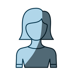 Blue color shading silhouette faceless half body vector