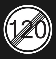 end maximum speed limit 120 sign flat icon vector image vector image