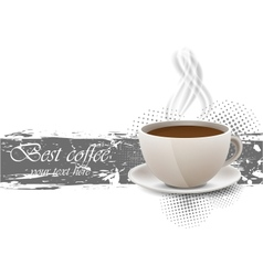 Grunge background with coffe cup vector image vector image