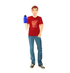 man in t-shirt and jeans with plastic flask of vector image vector image