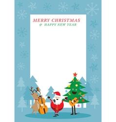 Santa Claus Snowman Reindeer Playing Music vector image
