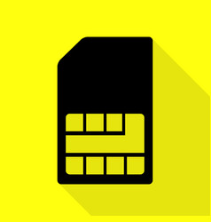sim card sign black icon with flat style shadow vector image