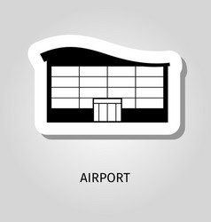airport black silhouette building sticker vector image vector image
