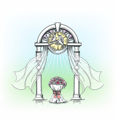 colored wedding arch with rose flowers vector image vector image