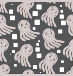 cute happy jellyfish cartoon character seamless vector image
