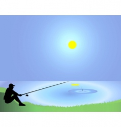 fisherman with a fishing tackle vector image vector image