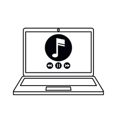 laptop music player app modern outline vector image vector image