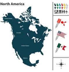 North America map with flags and regions vector image vector image