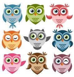 Set of cute cartoon owls vector image vector image