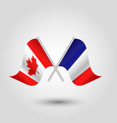 two crossed canadian and french flags on si vector image vector image