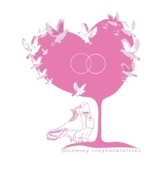 Wedding card couple fantastic doves under the tree vector image
