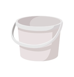 White plastic bucket cartoon icon vector image