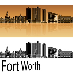 Fort Worth skyline in orange vector image vector image