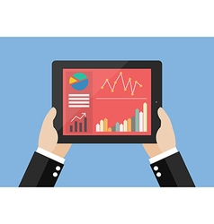 Hands hold tablet with flat simplistic vector image vector image