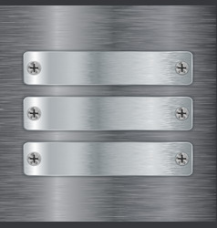 metal plate with screw head on brushed steel vector image vector image