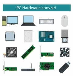 Pc Hardware icons set vector image
