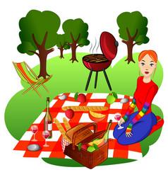 picnic set vector image