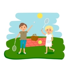 Happy kids picnic resting Boy and girl outdoors vector image vector image