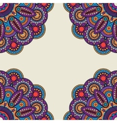 Indian doodle floral bright colored frame vector image
