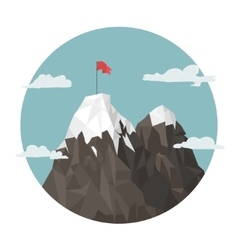 Red flag on a Mountain peak success vector image vector image