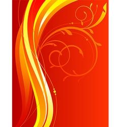Wavy background with floral ornament vector image vector image