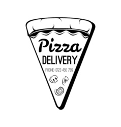 A Slice Of Pizza Food Delivery Badge Isolated On vector image