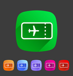 Aircraft airplane ticket trip travel icon flat web vector