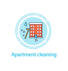 Apartment cleaning concept line icon vector
