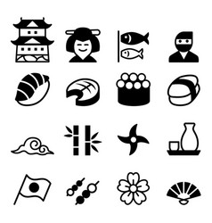 Basic japanese icon set vector