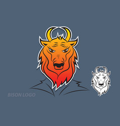 bison logo design vector image