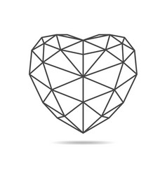 black triangular heart icon vector image