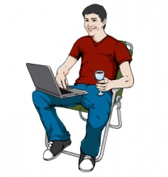 blogging man vector image