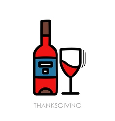Bottle of wine and glass icon Thanksgiving vector