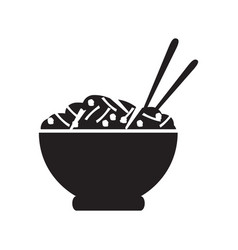 bowl of pasta silhouette vector image