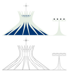 Brasilia cathedral colored and outline vector