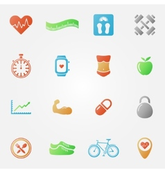 Bright fitness icons set vector image