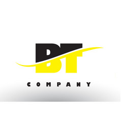 Bt b t black and yellow letter logo with swoosh vector