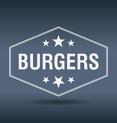 Burgers hexagonal white vintage retro style label vector