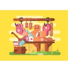 Butcher cuts meat vector image