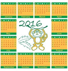 Calendar 2016 year of monkey vector
