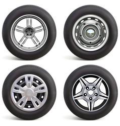 Car wheels with rims vector