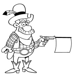 Cartoon cowboy shooting a gun with a sign vector
