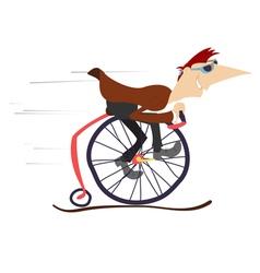 Cartoon man rides a comic bike vector