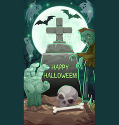 Cemetery at halloween night gravestone and zombie vector