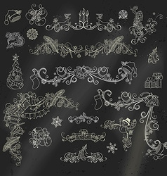 Chalk Christmas calligraphic design elements on vector image