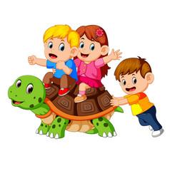 Children riding giant turtle vector