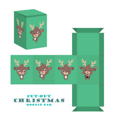 Christmas cut-out goodie bag with cute reindeer vector