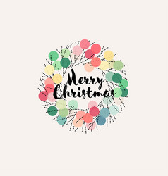 Christmas wreath with pastel colored pom poms vector