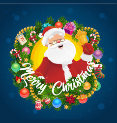 christmas wreath with santa claus and xmas bell vector image
