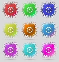 clock icon sign A set of nine original needle vector image